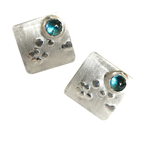 Hazel Davison - Bubbles and Blue Topaz Stud Earrings