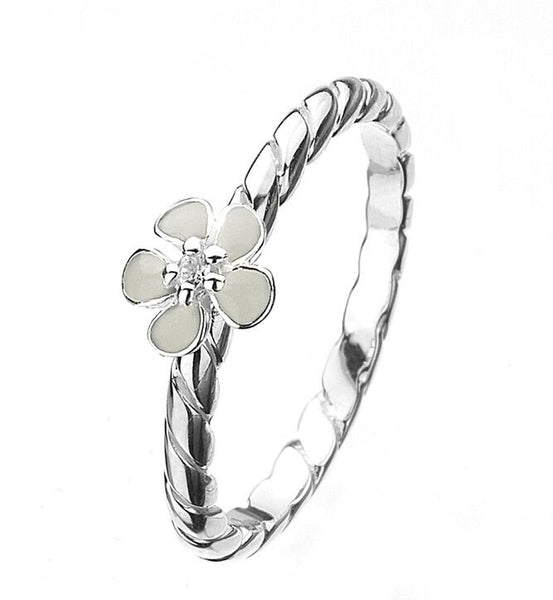 Virtue London Ring - Geranium White Enamel from the Rings collection at Argenteus Jewellery