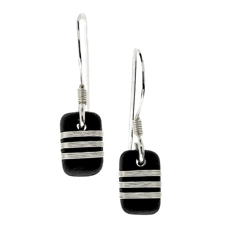 Tracey Birchwood - 9mm Drop Narrow Bands Earrings from the Earrings collection at Argenteus Jewellery