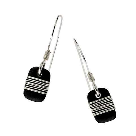 Tracey Birchwood - 9mm Drop Random Band Earrings from the Earrings collection at Argenteus Jewellery