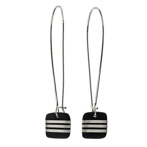 Tracey Birchwood - Square Drop Fine Band Long Earrings from the Earrings collection at Argenteus Jewellery