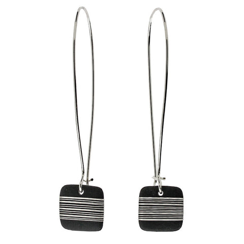 Tracey Birchwood - Square Drop Random Band Long Earrings from the Earrings collection at Argenteus Jewellery