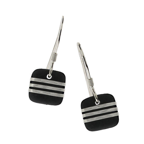 Tracey Birchwood - Square Three Band Earrings from the Earrings collection at Argenteus Jewellery