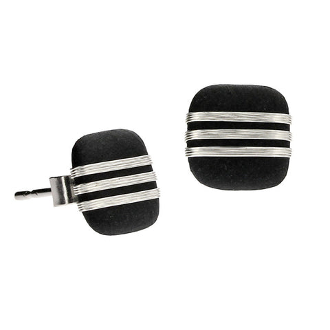 Tracey Birchwood - 9mm Square Fine Bands Stud Earrings from the Earrings collection at Argenteus Jewellery