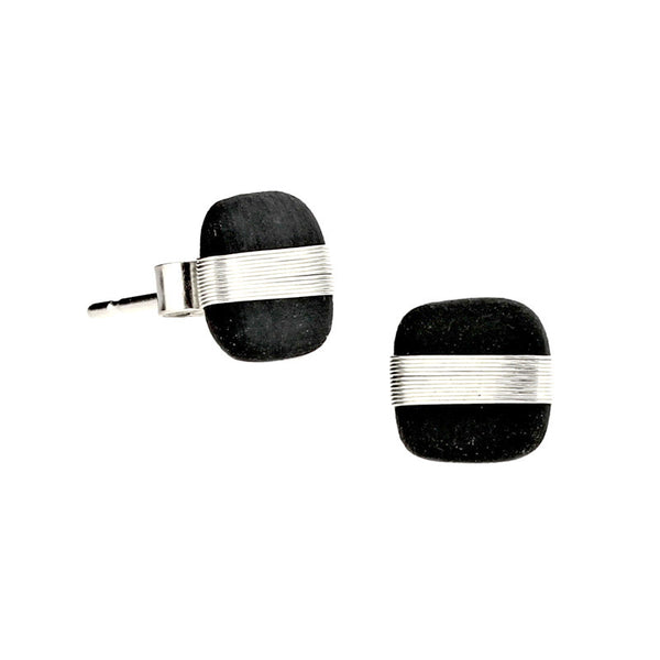 Tracey Birchwood - 9mm Square Wide Band Stud Earrings from the Earrings collection at Argenteus Jewellery