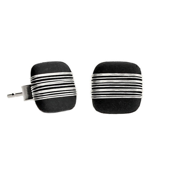 Tracey Birchwood - 9mm Square Bound Stud Earrings from the Earrings collection at Argenteus Jewellery