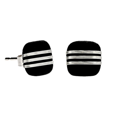 Tracey Birchwood - 7mm Three Band Square Stud Earrings from the Earrings collection at Argenteus Jewellery