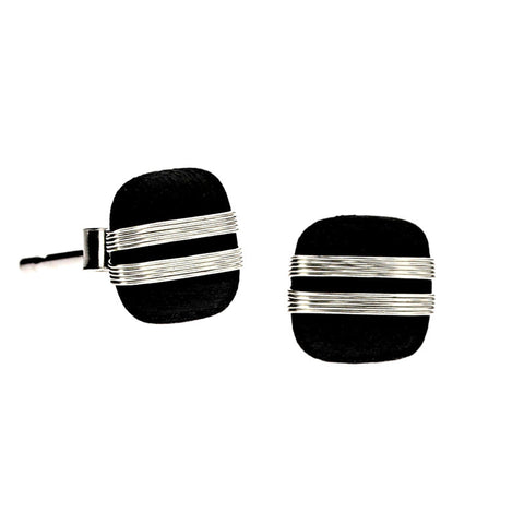 Tracey Birchwood - 7mm Square Medium Bands Stud Earrings