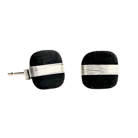 Tracey Birchwood - 7mm Square Large Band Stud Earrings from the Earrings collection at Argenteus Jewellery