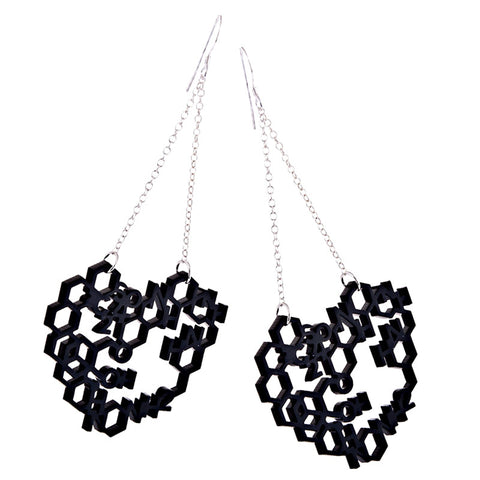 Perspex chemistry heart long drop earrings from the Earrings collection at Argenteus Jewellery