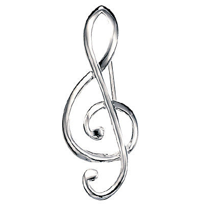 Sterling Silver Treble Clef Brooch from the Brooches collection at Argenteus Jewellery