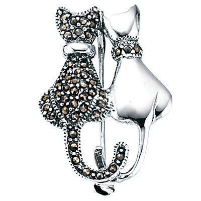 Marcasite Cats Brooch from the Brooches collection at Argenteus Jewellery