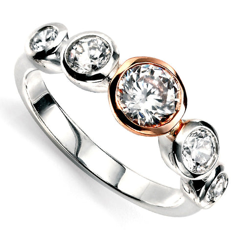 Rose Gold Plate Crystal Ring from the Rings collection at Argenteus Jewellery