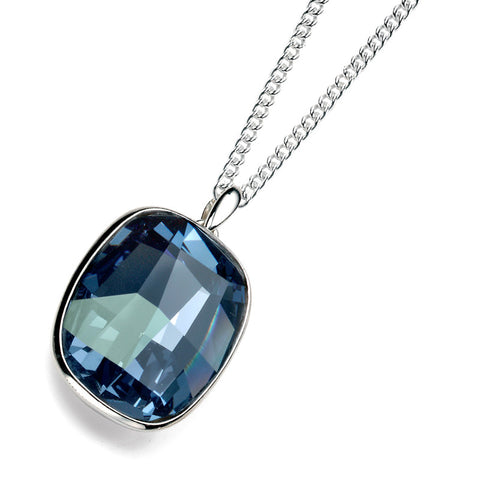 Dark Blue Swarovski Crystal Rectangle Drop Necklace from the Necklaces collection at Argenteus Jewellery
