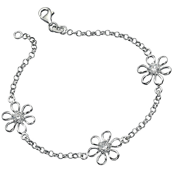 Crystal Daisy Chain Sterling Silver Bracelet from the Bracelets collection at Argenteus Jewellery