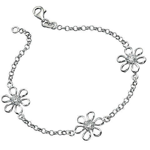 Crystal Daisy Chain Sterling Silver Bracelet