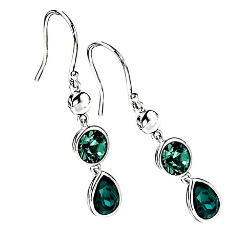 Green Crystals Drop Earrings