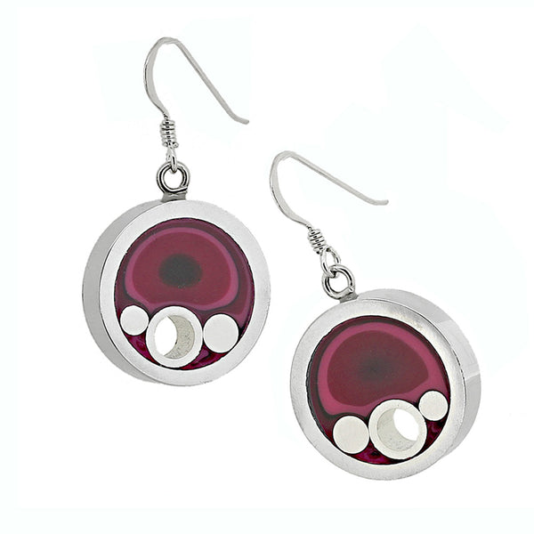 Norman Eames - Purple Circle Earrings from the Earrings collection at Argenteus Jewellery