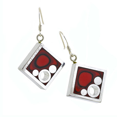 Norman Eames - Red Square Earrings