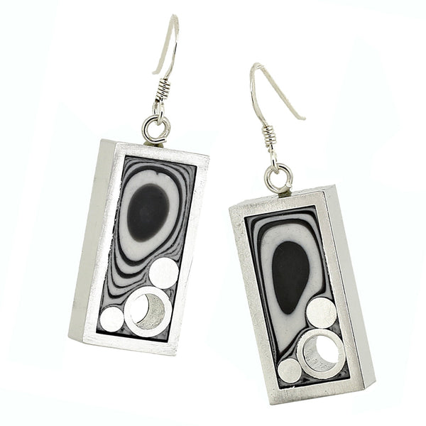 Norman Eames - Black Rectangle Earrings from the Earrings collection at Argenteus Jewellery