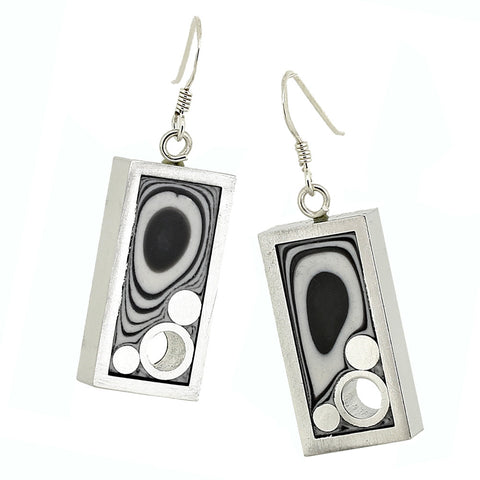 Norman Eames - Black Rectangle Earrings
