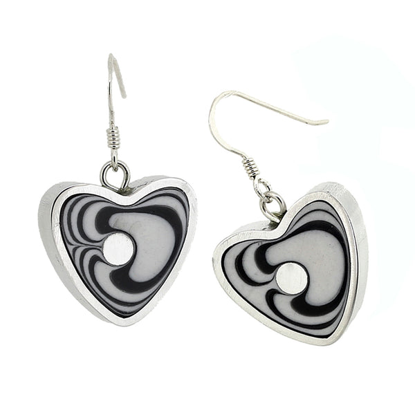 Norman Eames - White Heart Earrings from the Earrings collection at Argenteus Jewellery