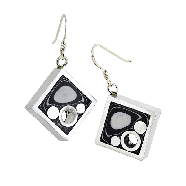 Norman Eames - Black Square Earrings from the Earrings collection at Argenteus Jewellery