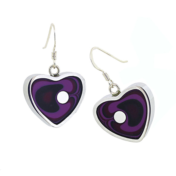Norman Eames - Purple Heart Earrings from the Earrings collection at Argenteus Jewellery