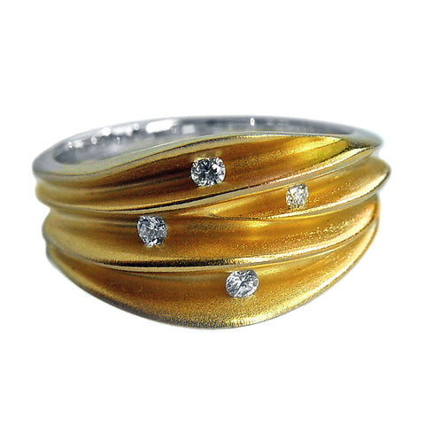 Paul Finch - Diamond Studded Sculpture Ring from the Rings collection at Argenteus Jewellery
