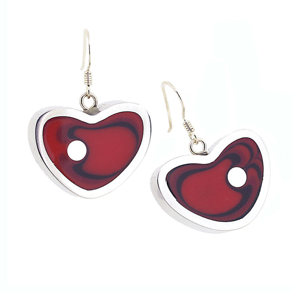 Norman Eames - Red Heart Earrings from the Earrings collection at Argenteus Jewellery
