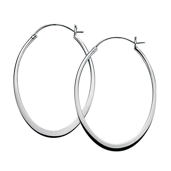 45mm x 33m Flat Oval Hoop Earrings from the Earrings collection at Argenteus Jewellery