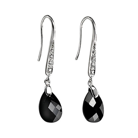 Black Cubic Zirconia Teardrop Earrings from the Earrings collection at Argenteus Jewellery