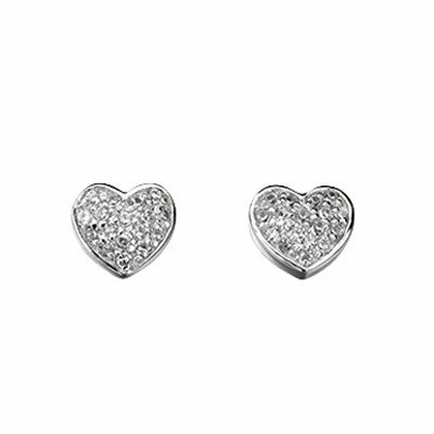 Pave Set Cubic Zirconia Heart Stud Earrings from the Earrings collection at Argenteus Jewellery