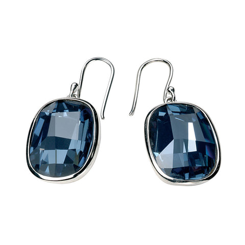 Dark Blue Swarovski Crystal Rectangle Drop Earrings from the Earrings collection at Argenteus Jewellery
