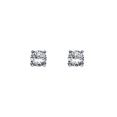 5mm White Cubic Zirconia Stud Earrings