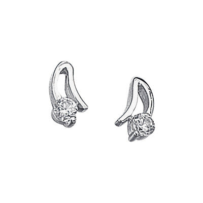 Cubic Zirconia Curved Stud Earrings from the Earrings collection at Argenteus Jewellery