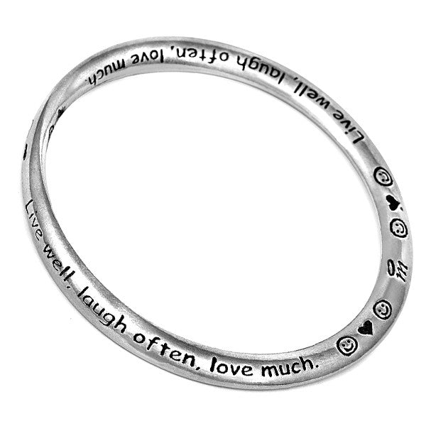 Message Bangle - Live Laugh Love from the Bangles collection at Argenteus Jewellery