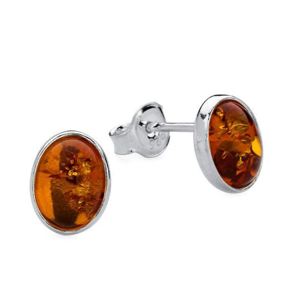 Amber Oval Stud Earrings from the Earrings collection at Argenteus Jewellery
