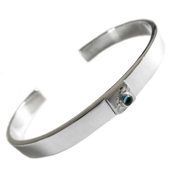 Hazel Davison - Blue Topaz Torc Cuff Bangle from the Bangles collection at Argenteus Jewellery