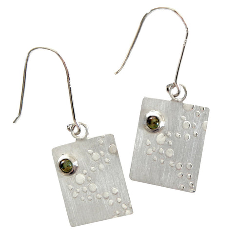 Hazel Davison - Bubbles and Peridot Stone Drop Earrings