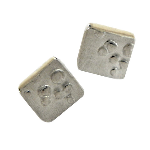 Bubbles small square stud earrings
