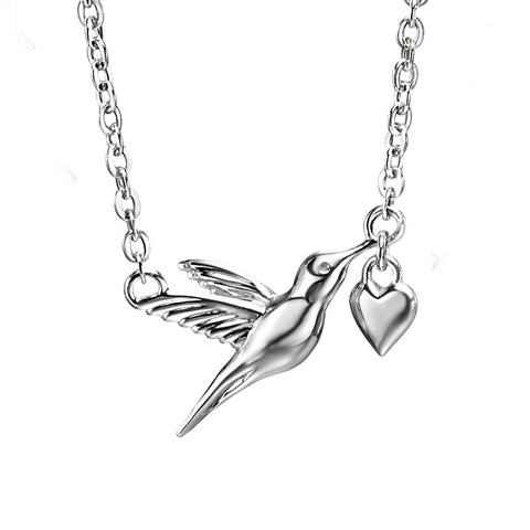 Hummingbird & Heart Necklace