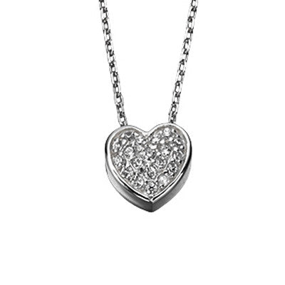 Pave Set Cubic Zirconia Heart Necklace from the Necklaces collection at Argenteus Jewellery