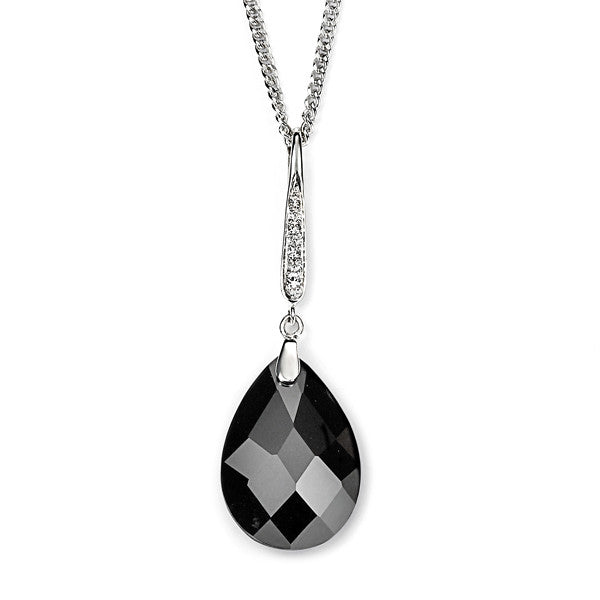 Black Cubic Zirconia Teardrop Necklace from the Necklaces collection at Argenteus Jewellery