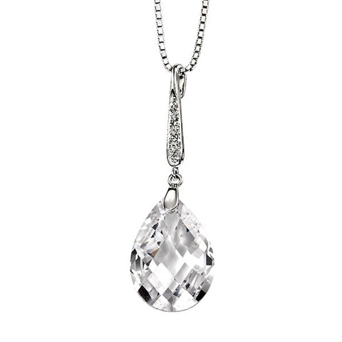 White Cubic Zirconia Teardrop Necklace from the Necklaces collection at Argenteus Jewellery