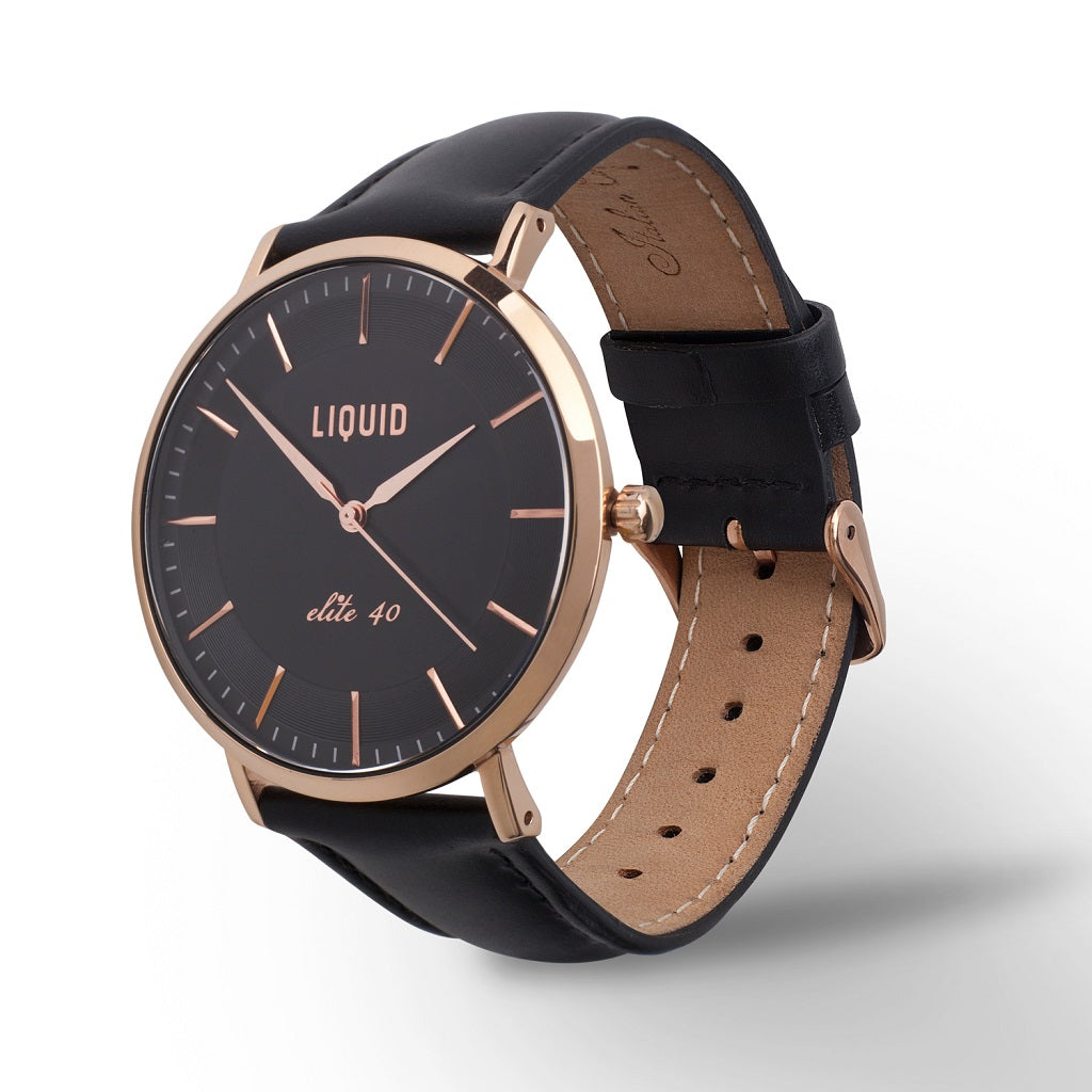 Rose Gold / Black Dress Watch by Liquid Co.