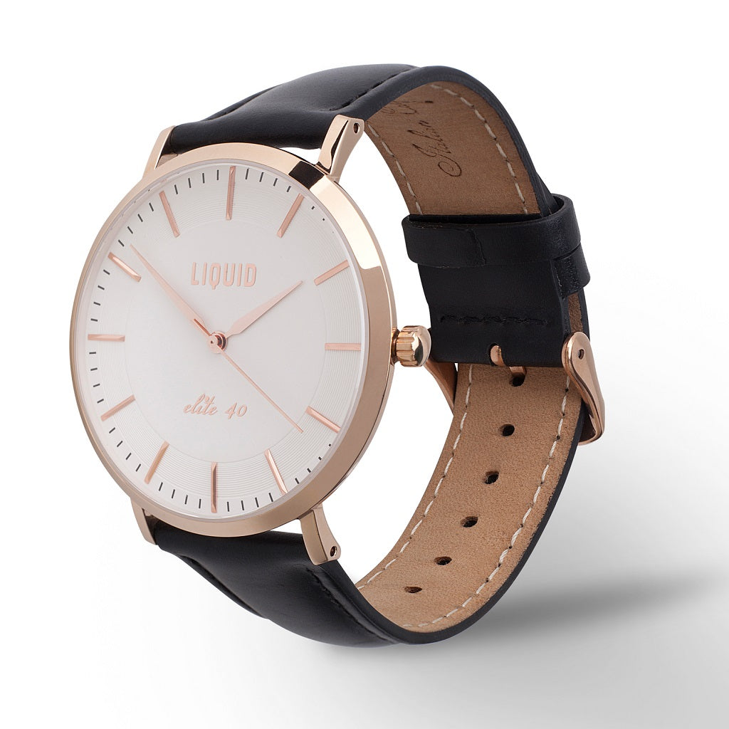 Rose Gold / White Dress Watch by Liquid Co.