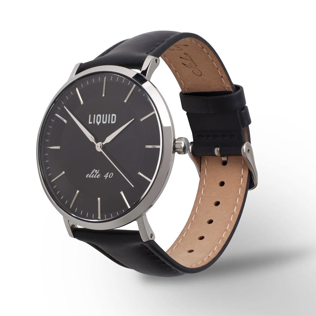 Silver / Black Dress Watch by Liquid Co.
