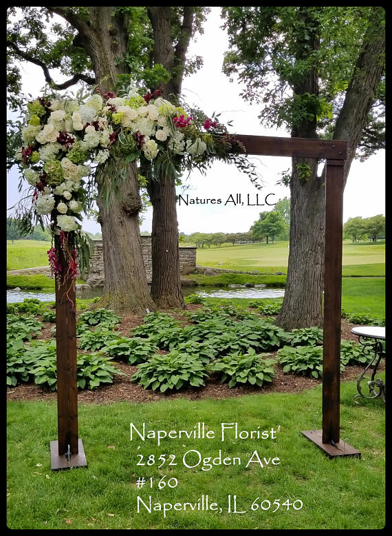 Wedding Arch/Wedding Arbor/Rustic Wedding Arch With Platform Stands Included/Indoors Or Outdoors/Country Wedding Backdrop/Dark Walnut