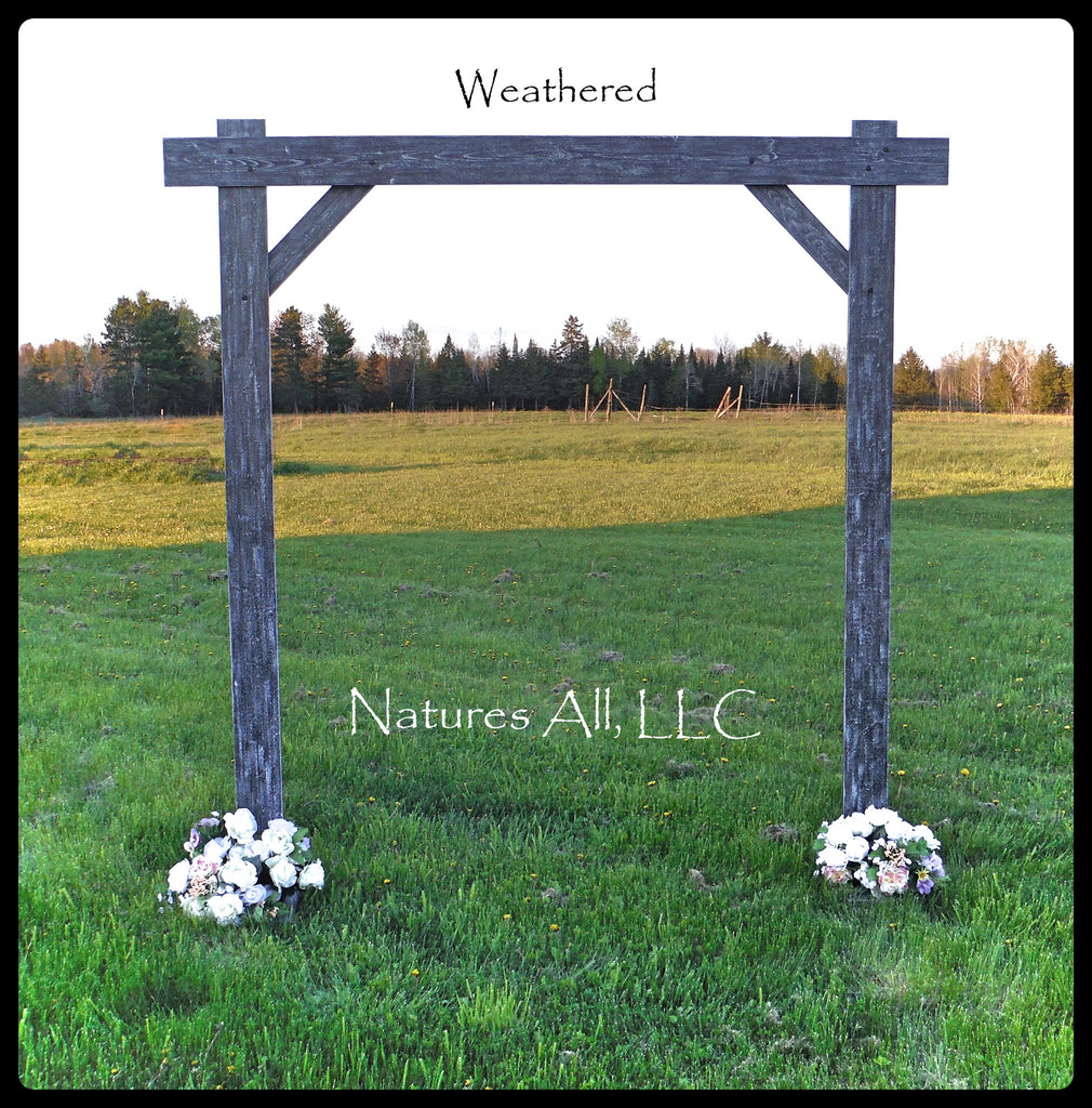 Wedding Arch/Wedding Arbor/Rustic Wedding Arch/Complete Kit/ Indoors Or Outdoors/Country Wedding Backdrop/Weathered Gray/Shipping Included